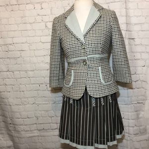 Phoebe Couture Tweed Suit Jacket Skirt Retro